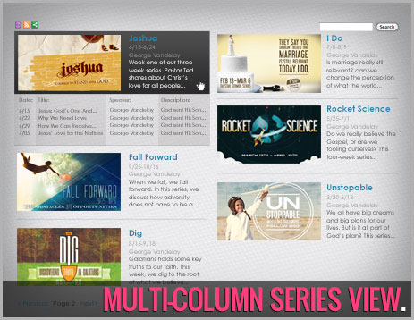 OneCast Multi-Column Series View of OneCast Church Media Launchers